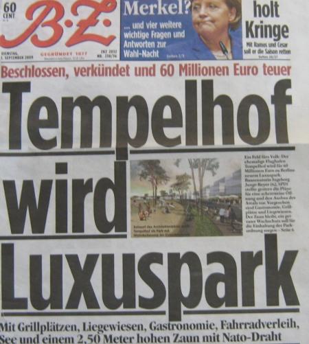 Titel BZ vom 1.9.2009