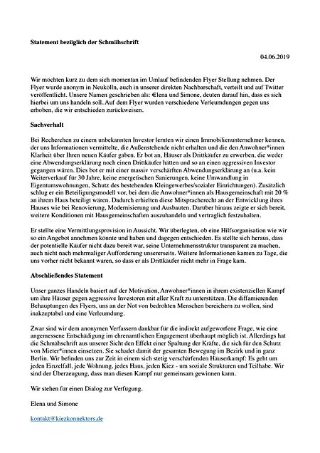 Statement Kiezkonnektors vom 4.6.2019