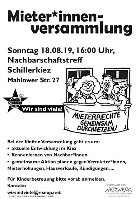 Mieter*innen-Versammlung Schillerkiez